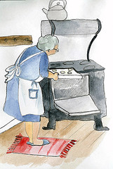 Grandma Baking In Woodstove