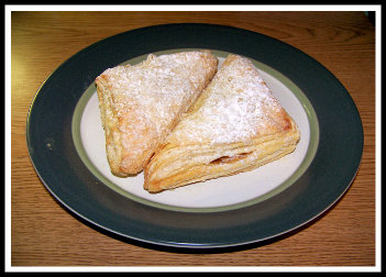 cherry turnover dusted with icing sugar