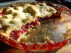 half rhubarb pie