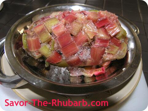 chopped rhubarb thawing