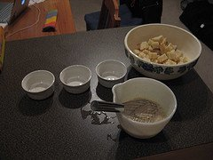 baking bowls and ingredients